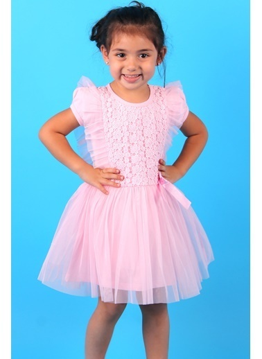 Breeze Kız Çocuk Elbise Tüllü Güpürlü Fiyonklu Pembe